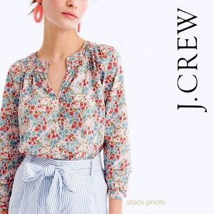 J. Crew Liberty Poppy & Daisy Smocked Neck Popover